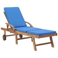 vidaXL Zahradní lehátko s poduškou masivní teakové dřevo modré