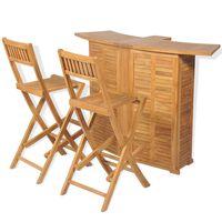 vidaXL 3dílný bistro set se skládacími židlemi masivní teakové dřevo