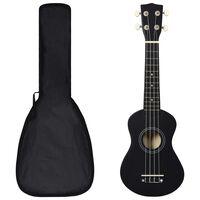 """vidaXL Set soprano ukulele s obalem pro děti černé 21"""""""