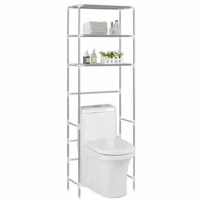 vidaXL 3patrový úložný regál nad WC stříbrný 53 x 28 x 169 cm