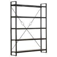 vidaXL Knihovna s 5 policemi černá 140 x 30 x 180 cm masivní mangovník