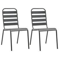 vidaXL Stohovatelné zahradní židle 2 ks ocelové šedé