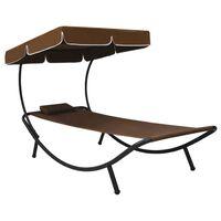 vidaXL Zahradní postel s baldachýnem a polštářem hnědá
