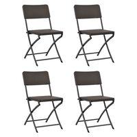 vidaXL Skládací zahradní židle 4 ks HDPE a ocel hnědé