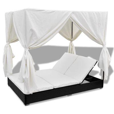 vidaXL Zahradní postel se závěsy polyratan černá