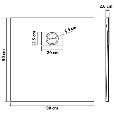 vidaXL Sprchová vanička SMC černá 90 x 90 cm