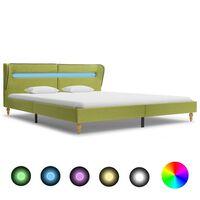 vidaXL Rám postele s LED světlem zelený textil 160 x 200 cm