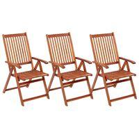 vidaXL Skládací zahradní židle 3 ks masivní akáciové dřevo