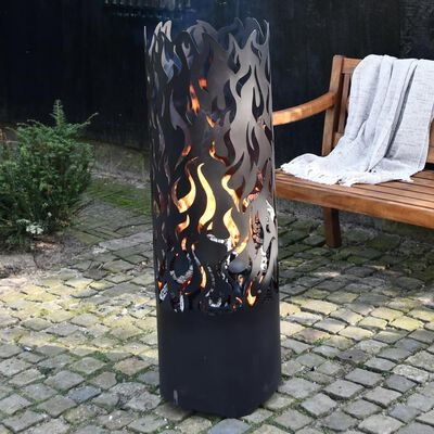 Esschert Design Vysoký koš na oheň Flames uhlíková ocel černý FF408