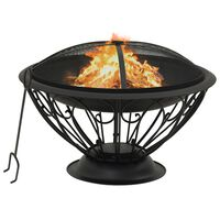 vidaXL Fire Pit with Poker 75 cm XXL Steel
