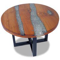 vidaXL Konferenční stolek, teak a pryskyřice 60 cm