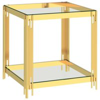 vidaXL Konferenční stolek zlatý 55 x 55 x 55 cm nerezová ocel a sklo