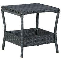 vidaXL Zahradní stůl tmavě šedý 45 x 45 x 46,5 cm polyratan