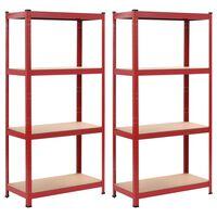 vidaXL Skladové regály 2 ks červené 80 x 40 x 160 cm ocel a MDF