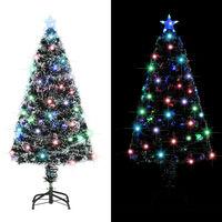 vidaXL Umělý vánoční stromek se stojanem a LED 120 cm optické vlákno