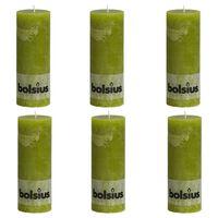 Bolsius Rustikální válcové svíčky 6 ks 190 x 68 mm mechově zelené