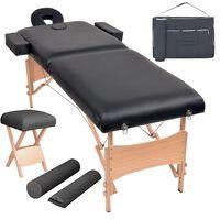vidaXL 2zónový skládací masážní stůl a stolička tloušťka 10 cm černé