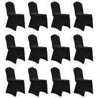 vidaXL Potahy na židle strečové černé 12 ks
