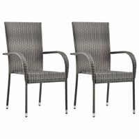 vidaXL Stohovatelné zahradní židle 2 ks šedé polyratan
