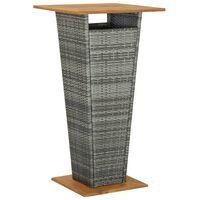 vidaXL Barový stůl šedý 60 x 60 x 110 cm polyratan a masivní akácie
