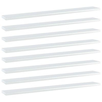vidaXL Přídavné police 8 ks bílé vysoký lesk 80x10x1,5 cm dřevotříska