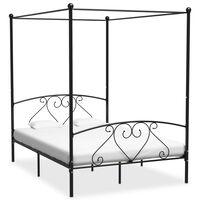 vidaXL Rám postele s nebesy černý kovový 160 x 200 cm