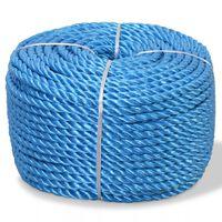 vidaXL Kroucené lano, polypropylen, 6 mm, 200 m, modrá