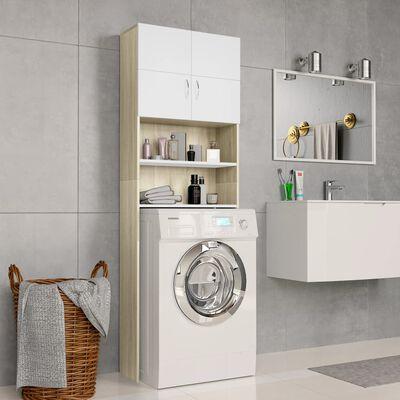 vidaXL Skříňka nad pračku bílá a dub sonoma 64x25,5x190 cm dřevotříska