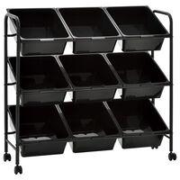 vidaXL 9 košíků na hračky úložný vozík černý plast