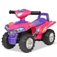 vidaXL Dětská odrážecí čtyřkolka se zvukem a světly, růžová a fialová