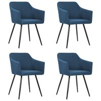 vidaXL Dining Chairs 4 pcs Blue Fabric (2x323097)