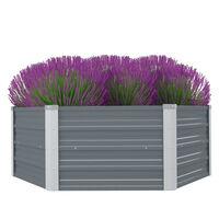 vidaXL Vyvýšený zahradní záhon 129x129x46 cm pozinkovaná ocel šedá