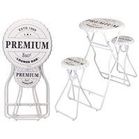 Ambiance Skládací barový stůl se stoličkami bílý