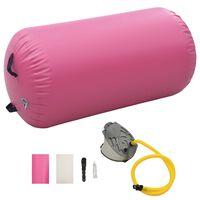 vidaXL Nafukovací cvičební válec s pumpou 120 x 75 cm PVC růžový