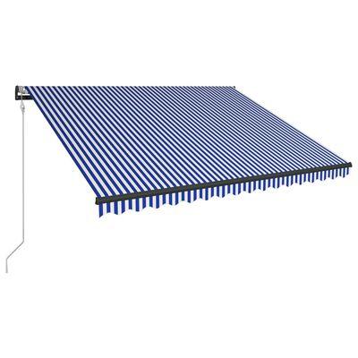 vidaXL Markýza s větrným senzorem a LED světlem 300 x 250 cm modrobílá