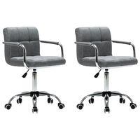 vidaXL Otočné jídelní židle 2 ks světle šedé textil