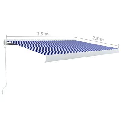 vidaXL Kazetová markýza na ruční ovládání 350 x 250 cm modro-bílá