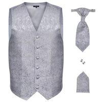 Pánská paisley svatební vesta a doplňky velikost 50 stříbrná