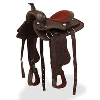 """vidaXL Westernové sedlo pro koně, set, pravá kůže 12"""" hnědé"""