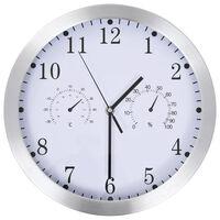 vidaXL Nástěnné hodiny strojek Quartz vlhkoměr a teploměr 30 cm bílé