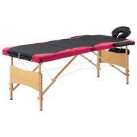 vidaXL Skládací masážní stůl 3 zóny dřevěný černý a růžový