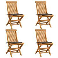 vidaXL Zahradní židle s šedohnědými poduškami 4 ks masivní teak