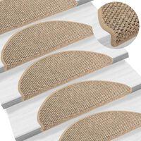 vidaXL Samolepící nášlapy na schody vzhled sisal 15 ks 65x25 cm béžové