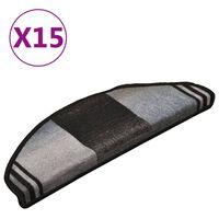 vidaXL Samolepící nášlapy na schody 15 ks černo-šedé 65 x 21 x 4 cm