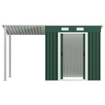vidaXL Zahradní domek s přístřeškem zelený 346 x 121 x 181 cm ocel