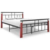 vidaXL Rám postele kov a masivní dubové dřevo 140 x 200 cm