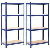 vidaXL Skladové regály 2 ks modré 80 x 40 x 160 cm ocel a MDF