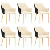 vidaXL Jídelní židle 6 ks černé a krémové textil