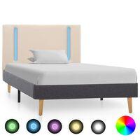vidaXL Rám postele s LED světlem krémový a tmavě šedý textil 100x200cm