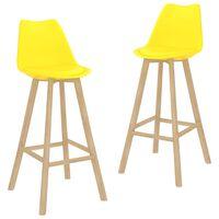 vidaXL Barové stoličky 2 ks žluté PP a masivní bukové dřevo
